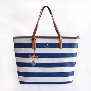 Fashion Kate Spade Women Shopping Leather Tote Handbag Shoulder Bag Blue&White Stripe