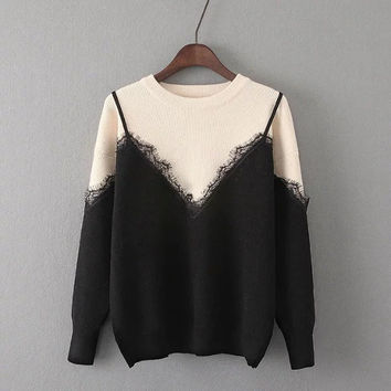 Tangada Women Fashion Warm Fake Two Piece Black Knitted Pullovers Lace Patchwork Long Sleeve O-Neck Casual Brand Sweater YU18