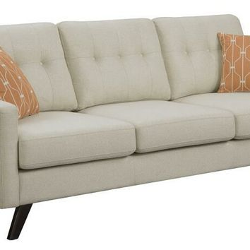 Montana collection mid century modern style linen patterned woven fabric upholstered sofa