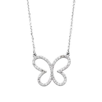 1/3 cttw Diamond Butterfly Necklace in 14k White Gold