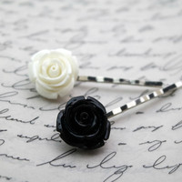 Black And White Rose Bobby Pins