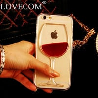 LOVECOM For iPhone 6 6S Plus 4 4S 5C 5 5S SE 7 7 Plus Phone Case Liquid Quicksand Red Wine Glass transparent hard back Cover