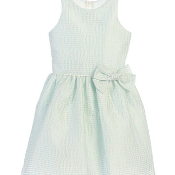 Sweet Kids Hot Air Balloon Striped Jacquard Dress - Mint, SK686