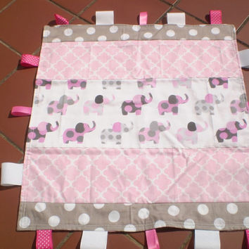 Baby taggie ribbon quilt,grey,pink,patchwork taggy blanket quilt,baby girl taggie,elephant,rustic,infant,toddler,Pink Ellie Taggie quilt