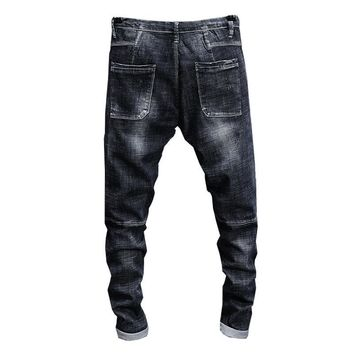 KSTUN Jeans Men Black Grey High Stretch Quality Brand 2018 Summer Ripped Drawstring Skinny Tapered Pockets Joggers Boys Pants