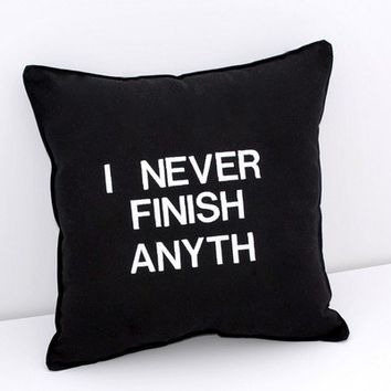 I Never Finish Anyth Black and White Pillow by YellowBugBoutique