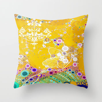 CLASSY BIRD Throw Pillow by AlyZen Moonshadow