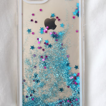 Blue Star Glitter iPhone Case