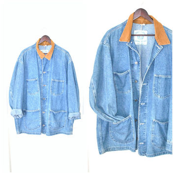 90s GRUNGE long jean jacket 1990s vintage LEE light wash denim relaxed fit CONTRASTING collar denim jacket os open size