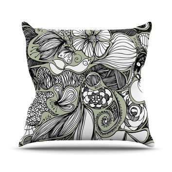 "Anchobee ""Doodle Dos"" Gray Green Outdoor Throw Pillow"