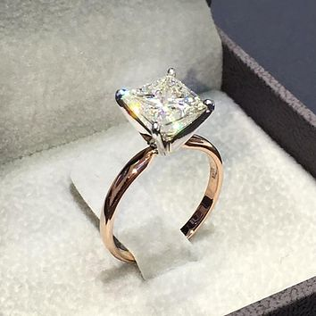 Womens Vintage Fake Crystal Jewelry Square Cut Engagement Wedding Bridal Ring