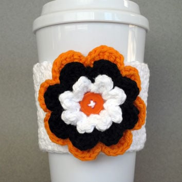 Crochet Flower Coffee Cup  Cozy Black Orange White