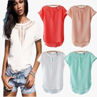 Hot Popular 2016 Trending Fashion Chiffon Hollow Bandage Floral Printed Round Necked Short Sleeve Shirt Blouse Top Shirt