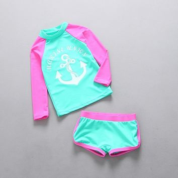 Toddler Girl Swimwear Swimming Suit Girls Two Pieces Separately Rash Guards Anchor Print Contrast Color Beach Wear Bathing Suit