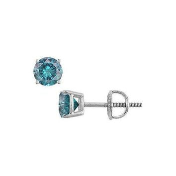 Blue Diamond Stud Earrings : 14K White Gold – 1.00 CT Diamonds