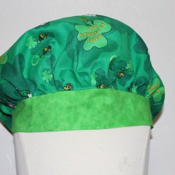 Nurses scrub cap, Womens scrub hat, womens scrub caps, St. Patricks Day, green,  nurse gift, surgical scrub caps, surgical scrub hats,
