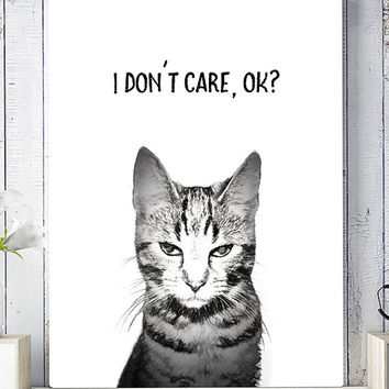 Cat wall art print, printable wall art, cat wall decor, wall decor print, modern print, cat printable poster, printable art, home decor art