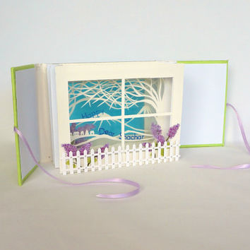 Happy 35th Birthday TUNNEL BOOK CARD Gift ORIGiNAL DeSIGN CUSToM ORDeR Handmade Artistic in White Blue Green and Purple Home Decor OOaK