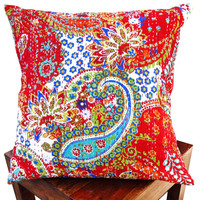 Red paisley print kantha cushion cover , indian cushion, cotton cushion ,handmade cushion ,kantha pillow