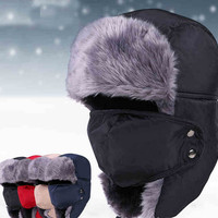 Winter Outdoor Windproof Hat With Face Mask