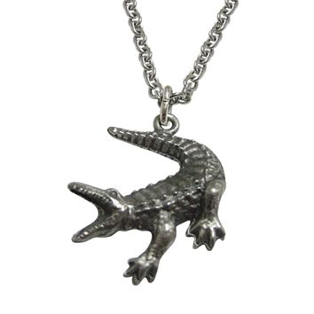 Textured Alligator Pendant Necklace