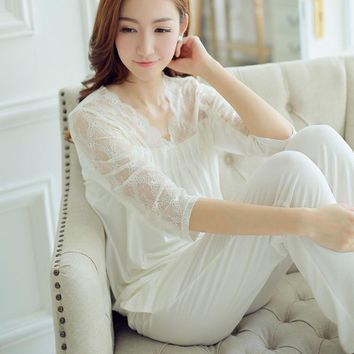 Fashion spring and summer sweet princess royal vintage lace sleepwear women sexy long white nightgown