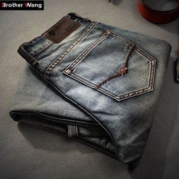 Brother Wang Brand men's clothing 2017 New Men 's Jeans fashion Retro Slim small straight jeans for men casual men trousers