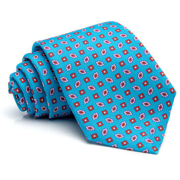 Kiton Aqua with Orange Medallion Tie