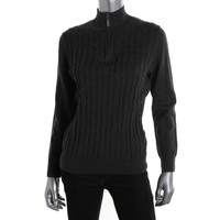 Karen Scott Womens Cable Knit Long Sleeves 1/2 Zip Sweater