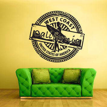 rvz806 Wall Vinyl Sticker Bedroom West Coast California Stamp Surfer Surf Ocean