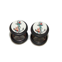 Anchor & Roses FAKE Plugs Post Earrings - 1 Pair - Made to Order