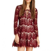Flippy Hem Burgundy Lace Dress