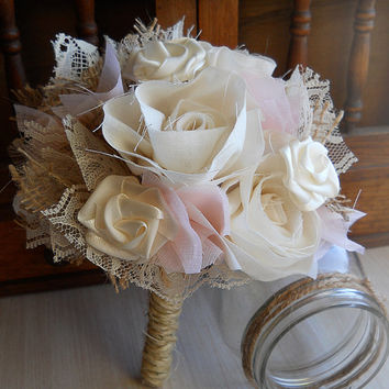Ivory & Pink Shabby Chic Bouquet, Cotton Roses, Satin Roses, Burlap, Lace and Twine. Rustic Shabby Chic Weddings. Made to Order.