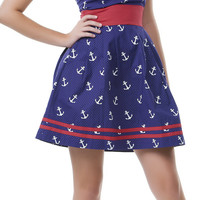 Navy & White Seafaring Dress - Unique Vintage - Homecoming Dresses, Pinup & Prom Dresses.