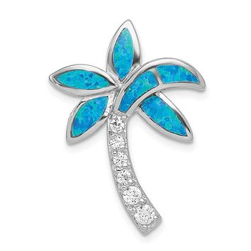 Sterling Silver Created Blue Opal and CZ Palm Tree Pendant