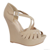 Stephy Wedge in Taupe