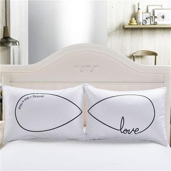 Cilected White Pillow Cases Bedding For Couple Personalized Forever Love Pillowcases Cover Wedding Gift 50X75cm 50X90cm