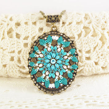 NEW- Turquoise Pendant Applique Polymer clay jewelry Romantic Jewelry Oriental Jewelry bright ornamernt
