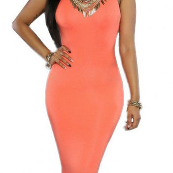 Womens Plain Strappy Bodycon Long Midi Dress