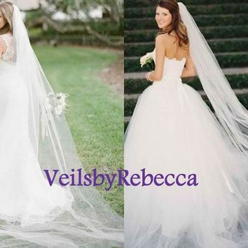 1 tier cathedral tulle veil,long tulle ivory wedding veil, simple tulle cathedral veil, 1 tier plain tulle chapel wedding veil V606
