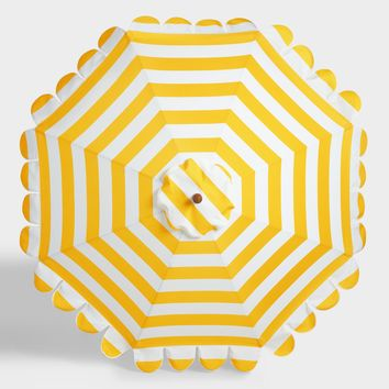 Lemon Yellow Awning Stripe Scalloped 9' Umbrella Canopy