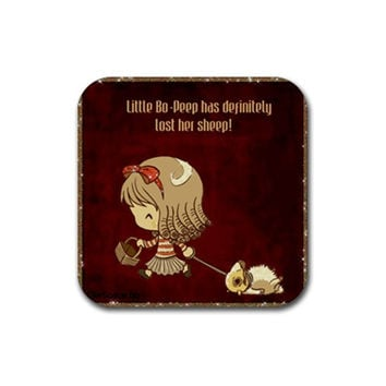 Little Bo Peep Rubber Coaster (Square)