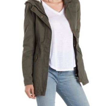 Olive Sherpa-Lined Heavyweight Anorak Jacket by Charlotte Russe