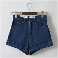 Denim Shorts Vintage High Waist Cuffed Jeans Shorts Street Wear Sexy Shorts For Summer Spring Autumn