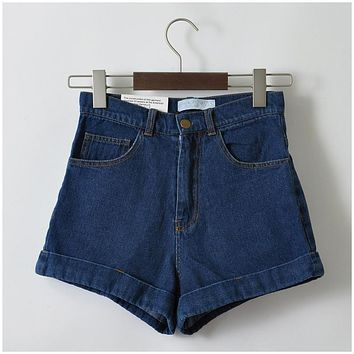 GCAROL Euro Style Women Denim Shorts Vintage High Waist Cuffed Jeans Shorts Street Wear Sexy Shorts For Summer Spring Autumn