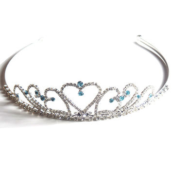 Crystal Hearts Tiara with Light Blue Rhinestones for Wedding and Prom