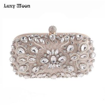 Luxy Moon Evening Bags Diamond Rhinestone Pearls Beaded Day Clutch Women's Purse Handbags Wallets Evening Wedding Bag ZD848