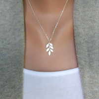 Leafy Branch Sterling Silver Necklace by morganprather on Etsy