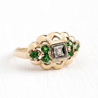 Diamond & Garnet Ring - Vintage Green Tsavorite 14k Rosy Yellow Gold Cluster Ring - Size 6 3/4 1950s Mid Century Engagement Fine Jewelry