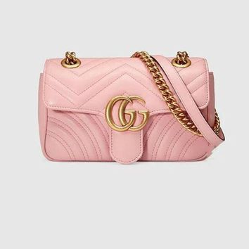 Gucci Women Trending Fashion Leather Satchel Shoulder Bag Crossbody Pink G